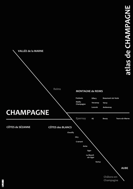 Map of Champagne nouvelle vague Black