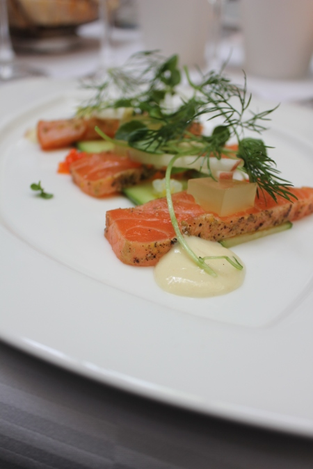 Blackened salmon with trout roe, apple, cucumber and horseradish