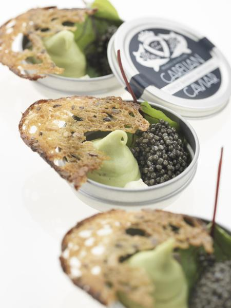 CARELIAN CAVIAR WITH CREAM ON ALMOND POTATOES AND SORREL